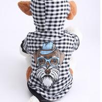 New Fashion Plaid Pattern Dog Printing Leisure Hooded Dog Clothes