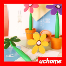 UCHOME popular green flower shaped pen for office , flower pen with pot