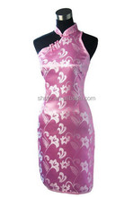 Chinese Lady Satin Cheongsam Classic Backless QipaoTop Sexy One Shoulder Dress Floral Clothing