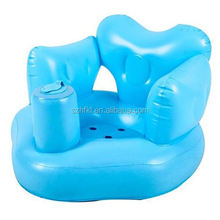 pvc inflatable baby chair in blue with heard shape for kids