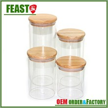 2015 New style glass jar Hot selling wholesale glass jars with lid High borosilicate glass food storage container