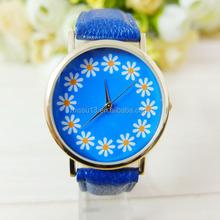 2015 blue Bloom pattern leather strap vogue fashion flower watch case