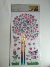 3D pvc wall decal stickers for home decoration Tree Butterfly and Flower wonderland design