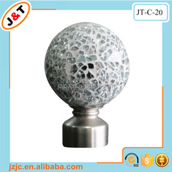 popular style in the UK telescopic double metal curtain rod with crackle round finial