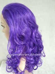 Hot sale 18 inch purple color heat resistent party wig