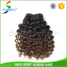 Wholesale 5A fashion style two tone ombre 100 percent indian virgin deep curly remy hair weaving