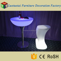 LED bar furniture glowing table with glass top