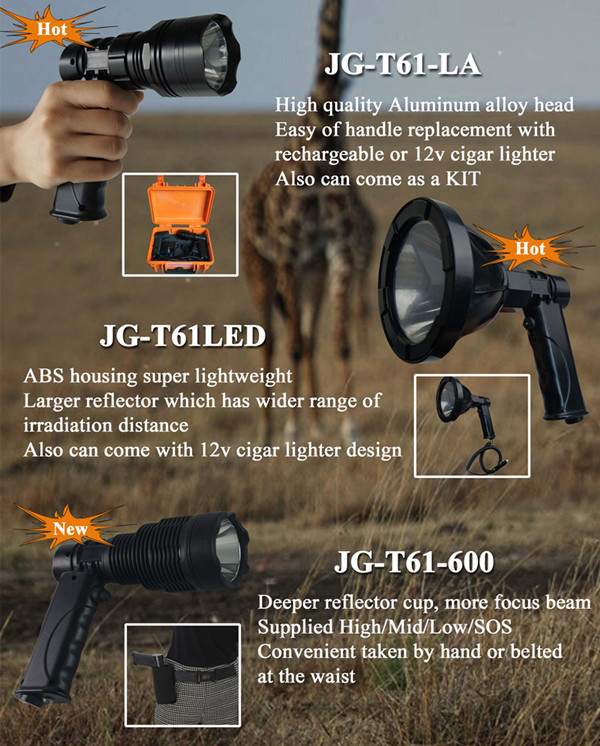 Lightweight waterproof snap-on 35-100w HID Luminous 150/175/240mm Rifle scope mount spearchlight