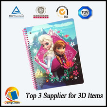 China factory a5 notebook in stock 3D lenticular sprial school notebook