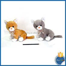 New Toys 2015 Soft Baby Plush Cat Toys Brown and Grey Stuffed Cat Doll with Silk Tie