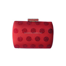 Sparkling red evening box clutch crystal handbags party bag