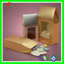 NZ060 Metallic Embossed Favor Paper Candy Boxes Window Upright Cookie Box