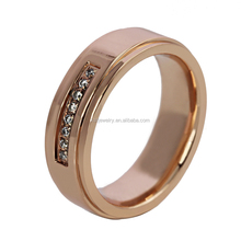 Rose Gold IP Plated Titanium Ring Best Price with Zircon Jewelry Wholesale