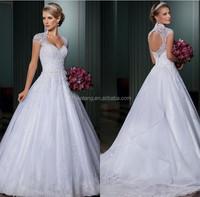 Cap Sleeves Wedding Dress New Year 2015 Vestido De Festa Longo Com Renda E Tule Organza Romantic Brides Open Back A Line