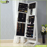 Free standing mirror cabinet white/black/gold jewelry armoire