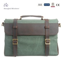 Stylish canvas and crazy horse leather briefcase and crossbody messenger Bag