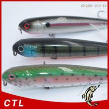 Chentilly03 CHQB9-100-13 fishing minnow lure 100mm 13g 3D eyes popper pencil bait Feather three anchor hook