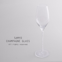 samyo clear crystal champagne glass with white diamond decoration inside of the stem