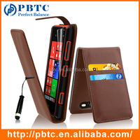 Set Screen Protector Stylus And Case For Nokia Lumia 820 , Brown Wallet Leather Back Cover Case