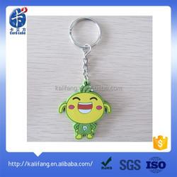 custom special designed pvc cartoon key chain/keychains with metal key ring