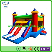 cheap nylon bounce house inflatable bouncer combo dual slide moonwalk with blower