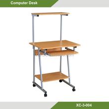 Wooden Desktop Computer Shelf With Wheels