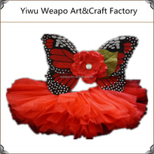 Funny Children Party Accessories Red Butterfly wings costume flower unique girls tutu skirt BW-282
