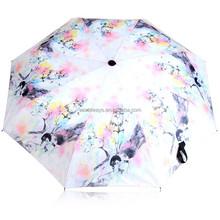 NU-221 Good Quality Full Fiber Ribs Beautiful Pink Lady Pattern New Folding Windproof Anti UV Clear/Rain Umbrella