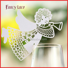 Wholesale Angel Shape Christmas Decorations Place Name Cards, Elegant Customized Wine Card Laser Cutting Paper Party Decor
