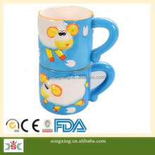 double deck mug double set hand painting colourful mug gifts for kid