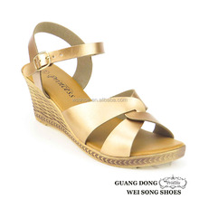 Guangdong supplier PVC outsole ankle buckle design latest summer lady wedge heels sandals
