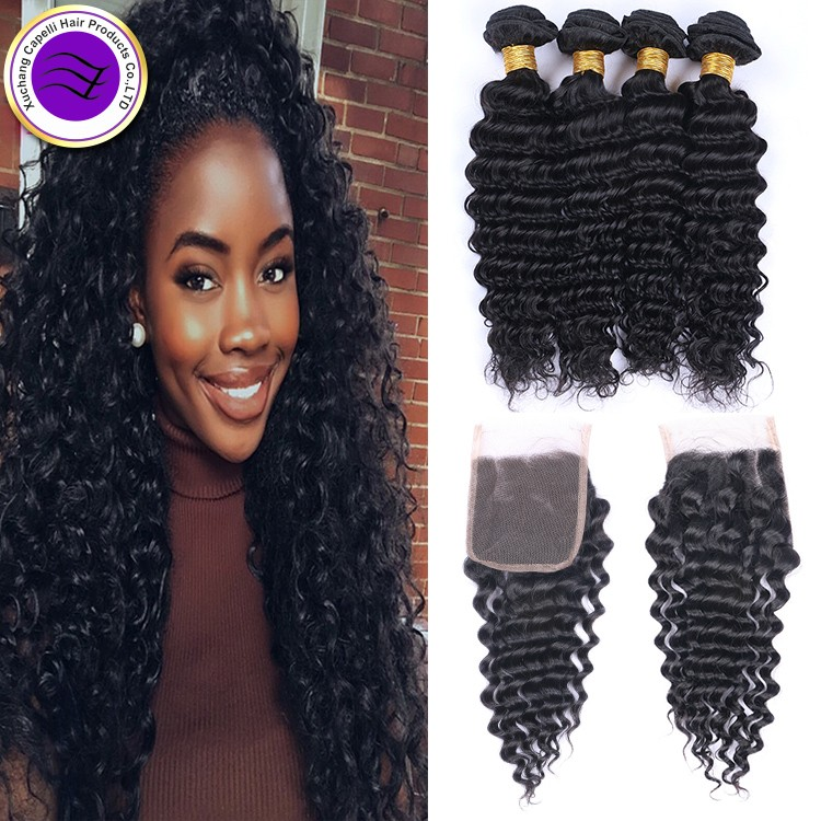 Grade 7 Deep Wave 3 Bundles Indian Deep Curly Virgin Hair Raw Virgin