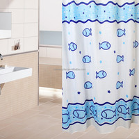 Stock polyester fabric fish bathroom Cartoon fish printed curtain shower kids curtain ocean pattern metal shower curtain hooks