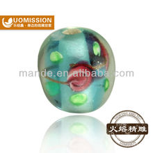 Promotion:Blue oval fashion painted murano glass bead with small hole China high quality handicrafts