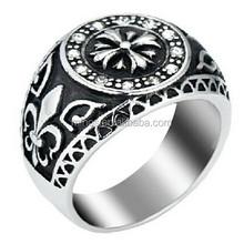 Men's Stainless Steel Ring Celtic Medieval Cross Knight Fleur De Lis Signet Vintage, Black Silver