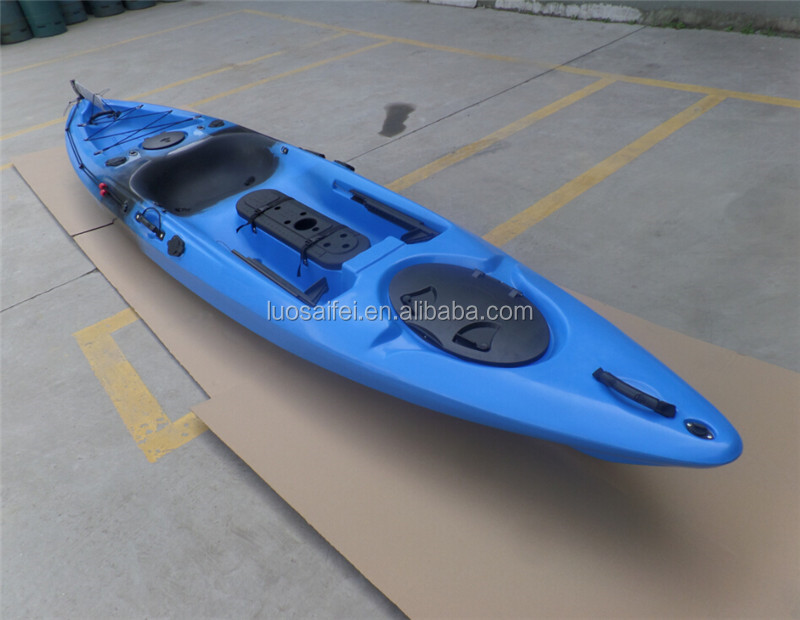 Fishing kayak with rudder and foot pedal system for Fishing kayak with foot pedals