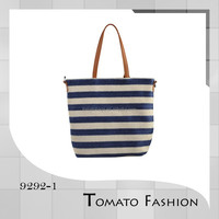 2016 fashion trends weave tote bag blue and white strip beach bag
