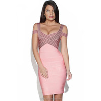 2014 New Fashion Top Quality Short Bodycon Sex Hot Pink Dress