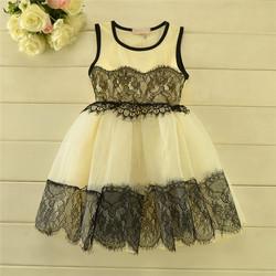 Free DHL New arrive good quality cream sleeveless black chiffon princess dress dress fashion girl latest net dress designsDL-004