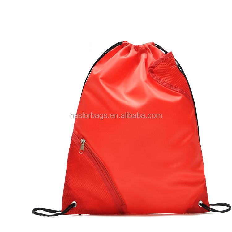 Gros personnalisé pas cher cordon sac à dos avec poche à fermeture éclair devant
