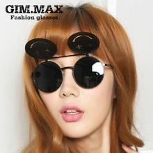 180 ewfdy agente sorriso i modelli hot occhiali da sole occhiali da sole flip afflusso di persone maschio e femmina metal punk retrò occhiali da sole tondo