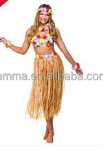 Hawaiian Party Girl 5 Piece Kit Beach Party Dress Lei Grass Hula Skirt Outfit BWG-7148
