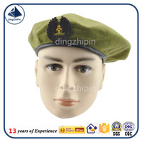 HK Macau army green color men beret with military embroidery medals supplier
