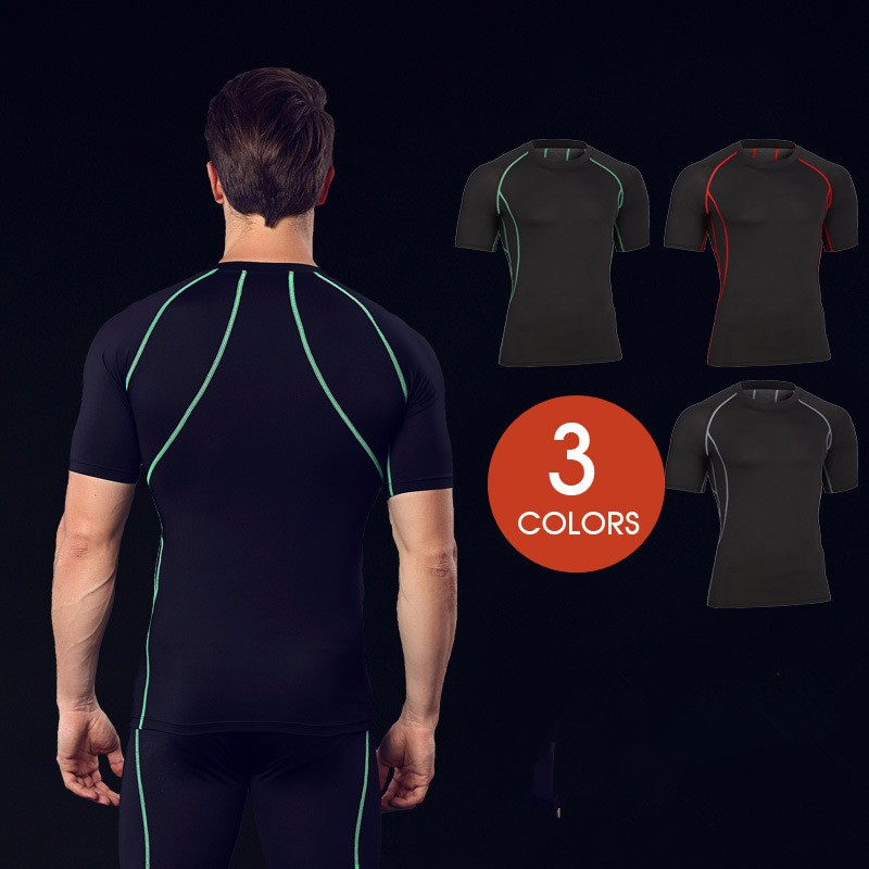 Training Wear Breathable Quick Drying Fitness Short Sleeve Sports Shirts For Men