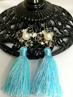 2015 Anti-allergy Jewelry Earrings with long tassel enamel alloy black flowers imitated pearls dangling earrings