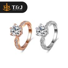Hot sale fashion women 18K Rose Gold /Platinum Plate Round Zircon Wedding Jewelry Ring