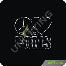 High quality crystal heart peace sign heat press transfers