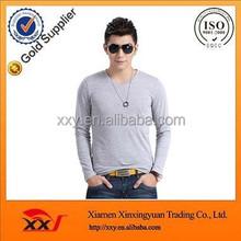 Stylish casual 100 cotton grey plain blank fitted slim gym mens sweatshirts