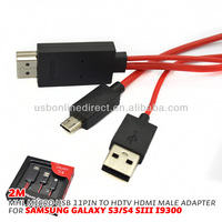 hdmi male to usb female cable 2m 11P MHL Micro USB to RCA Cable Mini USB Adapter 1080P HDTV for Samsung Galaxy S3 S4 S5 Note2 3
