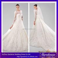 2015 Very Beautiful Elegant Bateau Neckline Allover Lace Zipper White A-line/Princess Watteau Train Long Sleeves Wedding Gown
